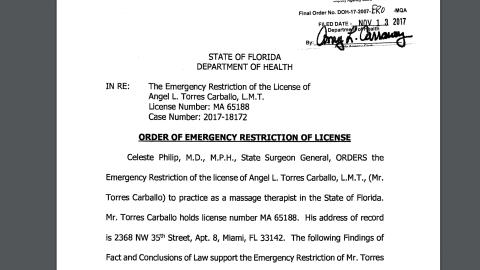 Torres Carballo tiene ahora una sanción que le prohíbe atender a clienta...