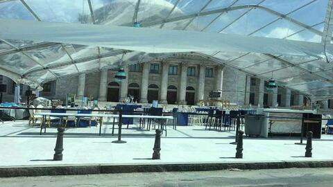 Carpa en el Capitolio para la celebración del centenario del Senado.