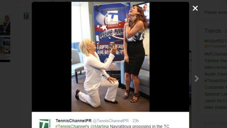 Navratilova pide matrimonio a su pareja en el US Open.