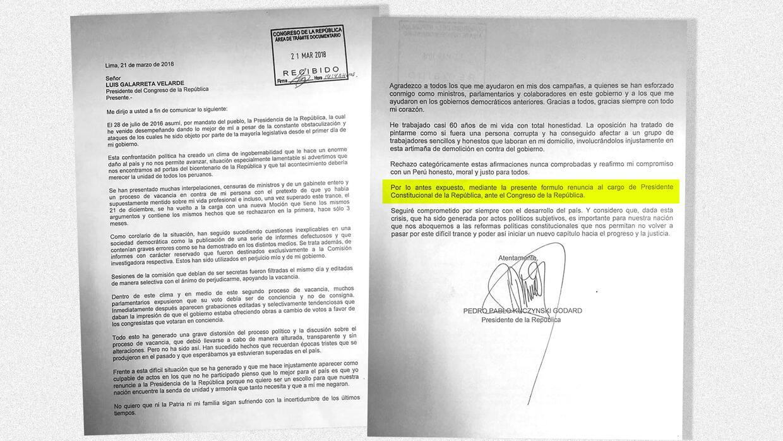 La carta fue leída por Kuczynski durante un mensaje televisado a la nación.