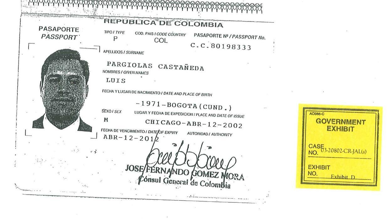 Pasaporte de Pargiolas aportado por la DEA al caso contra el empresario
