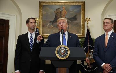 Donald Trump with Republican senators Tom Cotton (pictured left) and Dav...