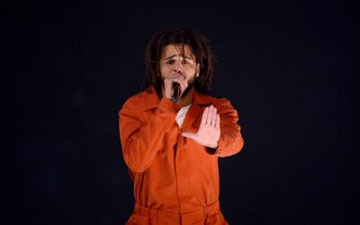 Rapper J. Cole performs on stage at the Barclays Center on August 1, 201...