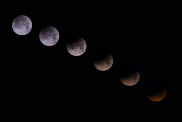 Aquí fases de la luna durante el eclipse lunar.