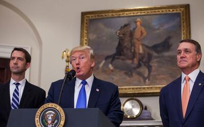 El presidente Trump habló para apoyar el proyecto de Tom Cotton (...