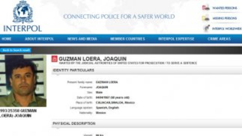 Interpol actualizó la ficha roja de búsqueda de Joaquín El Chapo Guzmán....