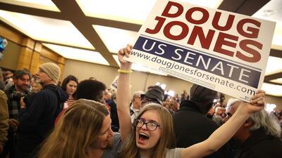 Seguidores de Doug Jones celebran la victoria.