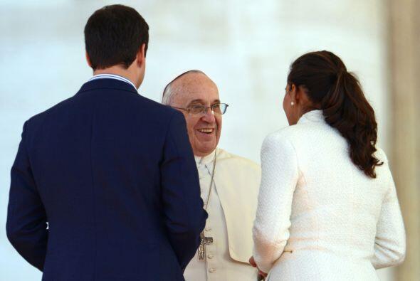 Una de las parejas que habló personalmente con el papa.  Algunos, como l...