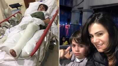 Luz Elena González y su hijo Santiago de 10 años.