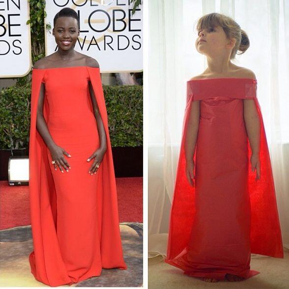 Vestido de Ralph Lauren que Lupita Nyong'o vistió en los Globos de Oro....