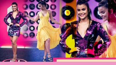 Morado o amarillo: no podemos decidir cuál fue el mejor look  de Clarissa Molina en Premios Juventud