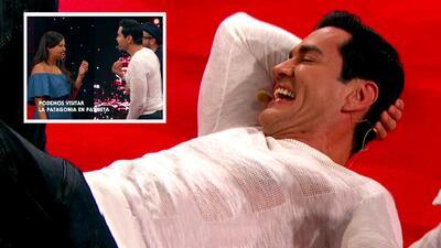 David Zepeda se cayó de la risa tras sufrir un pequeño accidente al jugar 'Habla bien'