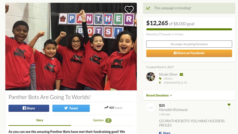 La campaña para recaudar fondos para subvencionar el viaje de los Panthe...