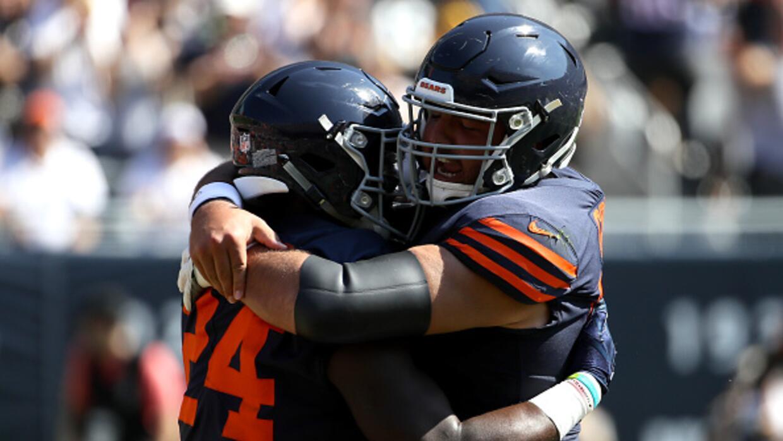 Así festejaron los Chicago Bears su primer triunfo en la campa&nt...