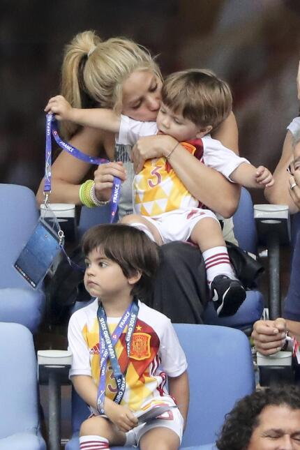Shakira, wife of Gerard Pique and their two sons, Milan Pique Mebarak an...