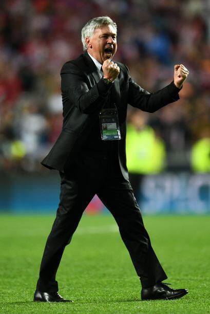 El propio Ancelotti rompió el protocolo y festejó el triunfo.
