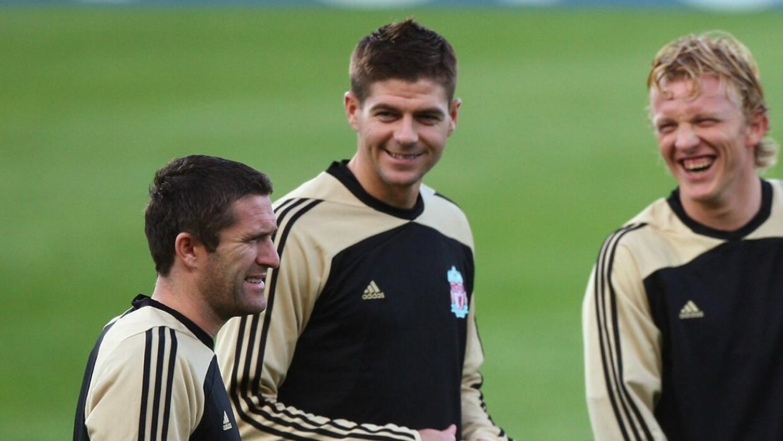 Robbie Keane y Steven Gerrard cuando jugaban juntos en el Liverpool (08-09)
