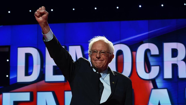 Bernie Sanders en el debate demócrata de Brooklyn