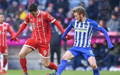 Robert Lewandowski no tuvo el tino de su lado frente al Hertha.
