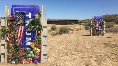 Montaje con el muro anti-Trump  sobre el fondo de su ubicación real