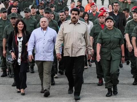 El presidente de Venezuela, Nicolás Maduro, durante un acto milit...