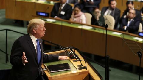El presidente estadounidense Donald Trump habla ante la Asamblea General...