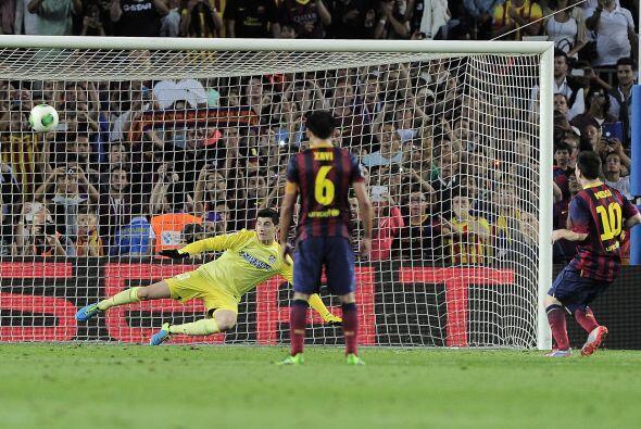 El argentino mandó el balón al travesaño y la pelota no entró, tal y com...