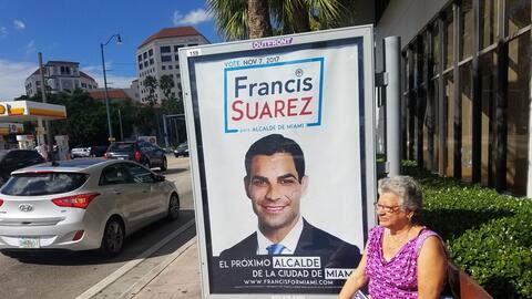 A bus billboard shows Miami mayoral candidate Francis Suárez in M...