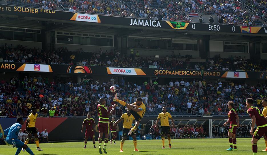 """El """"vinotinto"""" le metió un tremendo gol al portero jamaiquino Andre Blake."""