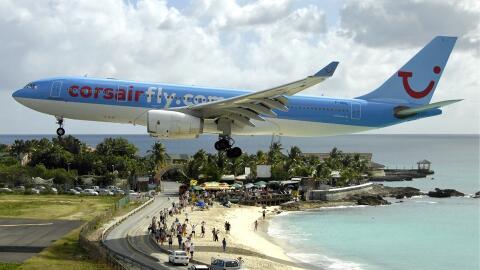 Imagen del aeropuerto de la isla de Sint Marteen.
