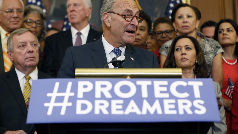 El senador demócrata Chuck Schumer, en una conferencia de prensa tras la...
