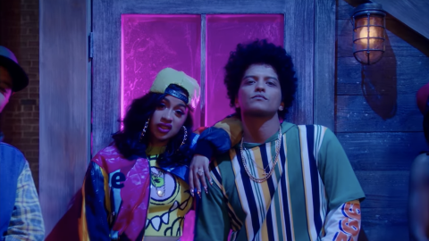 Recording artist Cardi B teams up with Bruno Mars on the remix for his s...