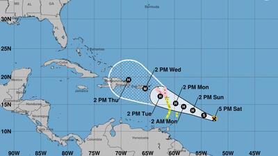 La tormenta tropical María sigue una trayectoria parecida a la de Irma.