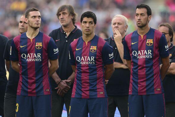 Junto a Suárez, también se presentó a futbolistas como el belga Thomas V...