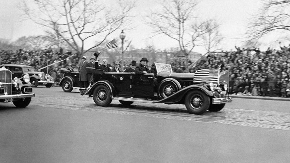 President-elect Franklin D. Roosevelt rides in a limousine on his inaugu...