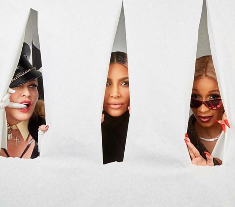 Las divas Madonna, Kim Kardashian y Cardi B posaron juntas en la décima...