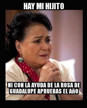 """""""Ay mi hijito, ni con la ayuda de la Rosa de Guadalupe apruebas el año""""."""