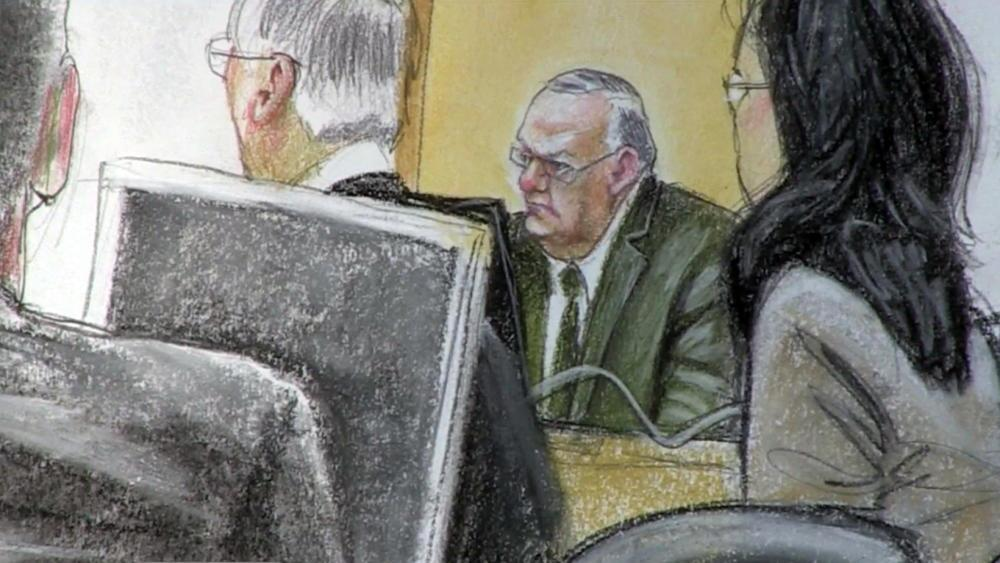 Arpaio in court room sketch