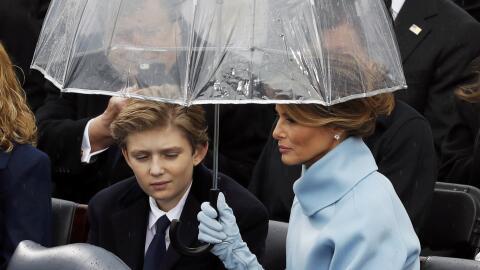 Barron Trump durante la toma de posesión de su padre, el presiden...