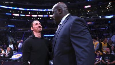 Dos titanes del deporte, una foto: Zlatan y Shaq coinciden previo a juego de Los Angeles Lakers
