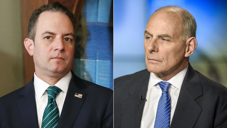 Reince Priebus (izquierda), ex jefe de gabinete de la Casa Blanca y su r...