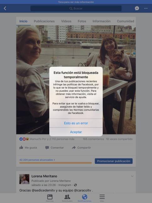 Por mostrar sus senos reconstruidos, Facebook bloqueó a Lorena Meritano:...