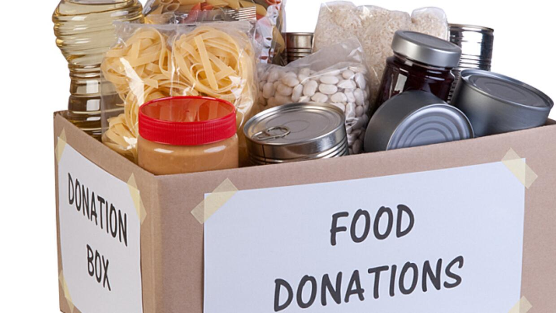 Food donations at a food drive.