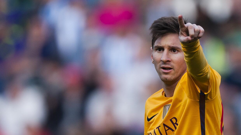 El jugador del Barcelona, Lionel Messi, durante un partido contra Málaga...