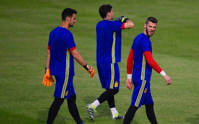 David de Gea en un entrenamiento con la selección española.