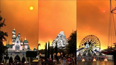 La nube de humo por el incendio en Anaheim Hills vista desde Disneyland.