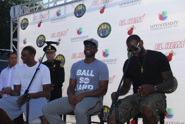 """Los """"Big 3"""" del Miami Heat, Dwyane Wade, Lebron James, y Chris..."""