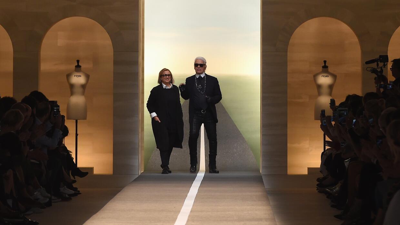 Silvia Venturini Fendi and Karl Lagerfeld
