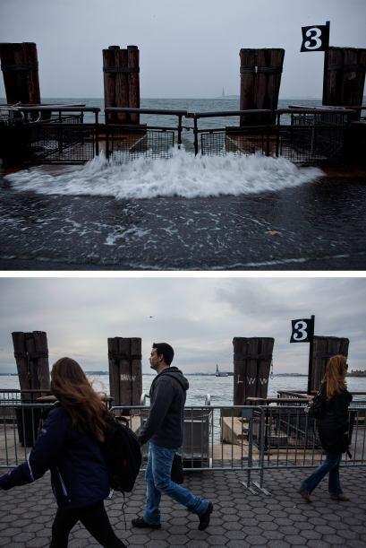 El Battery Park de Nueva York fue duramente golpeado por Sandy, a casi u...