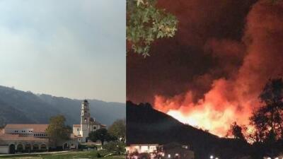 Imágenes del colegio Thomas Aquinas durante y después del fuego Thomas.